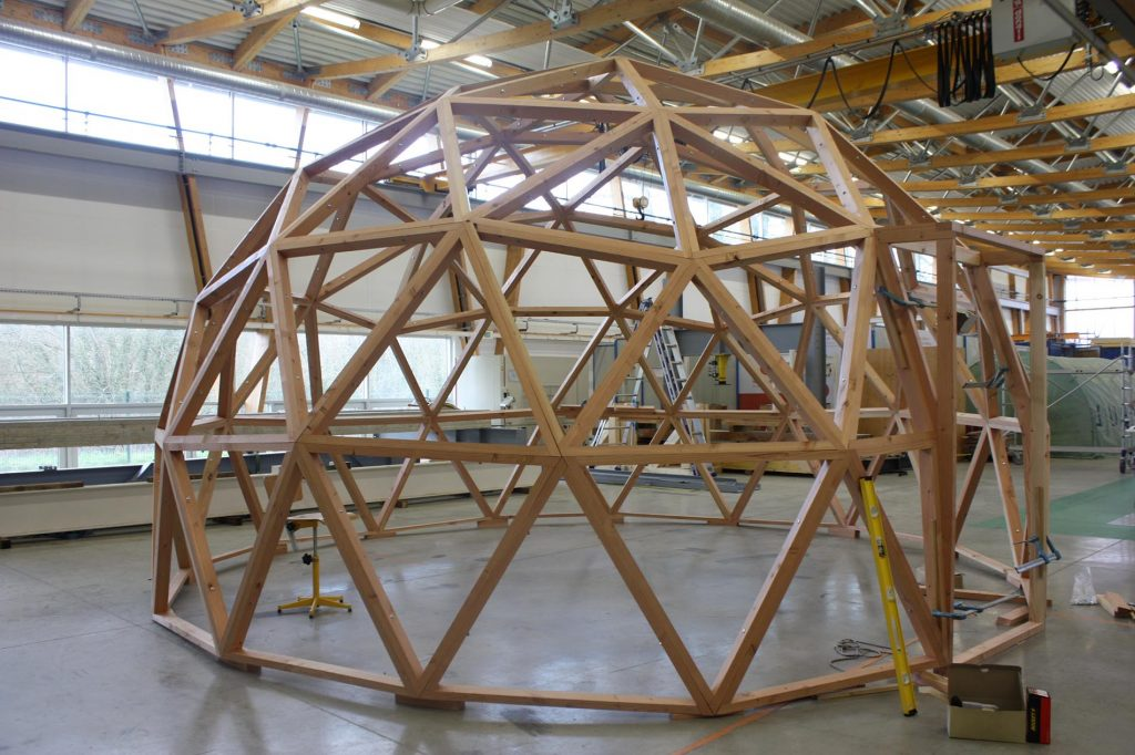 Geodesic dome greenhouse production esb students